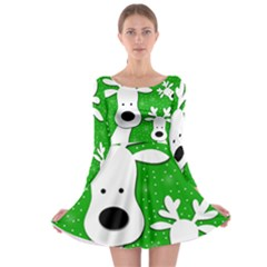 Christmas Reindeer - Green 2 Long Sleeve Skater Dress by Valentinaart