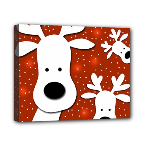 Christmas Reindeer   Red 2 Canvas 10  X 8  by Valentinaart