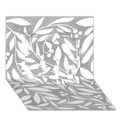 Gray And White Floral Pattern Love 3d Greeting Card (7x5)