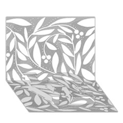 Gray And White Floral Pattern Love Bottom 3d Greeting Card (7x5)