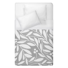 Gray And White Floral Pattern Duvet Cover Single Side (single Size) by Valentinaart