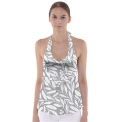 Gray And White Floral Pattern Babydoll Tankini Top by Valentinaart