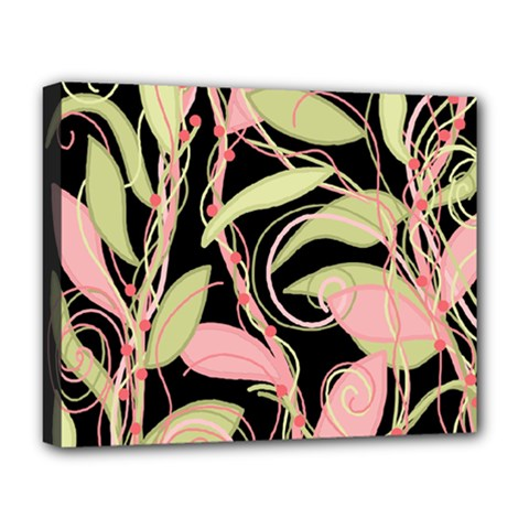Pink And Ocher Ivy Deluxe Canvas 20  X 16   by Valentinaart