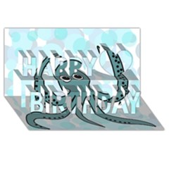 Octopus Happy Birthday 3d Greeting Card (8x4) by Valentinaart