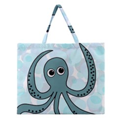 Octopus Zipper Large Tote Bag by Valentinaart