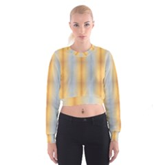 Blue Yellow Summer Pattern Women s Cropped Sweatshirt by Costasonlineshop