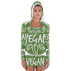 Vegan Label3 Scuro Women s Long Sleeve Hooded T-shirt by CitronellaDesign
