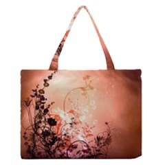 Wonderful Flowers In Soft Colors With Bubbles Medium Zipper Tote Bag