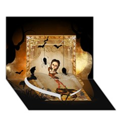 Halloween, Cute Girl With Pumpkin And Spiders Heart Bottom 3d Greeting Card (7x5)
