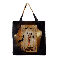 Halloween, Cute Girl With Pumpkin And Spiders Grocery Tote Bag by FantasyWorld7
