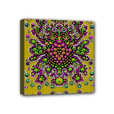 Fantasy Flower Peacock With Some Soul In Popart Mini Canvas 4  X 4  by pepitasart