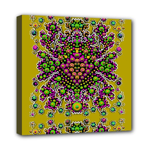 Fantasy Flower Peacock With Some Soul In Popart Mini Canvas 8  X 8  by pepitasart