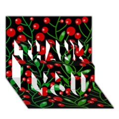 Red Christmas Berries Thank You 3d Greeting Card (7x5) by Valentinaart