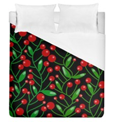 Red Christmas Berries Duvet Cover Single Side (queen Size) by Valentinaart