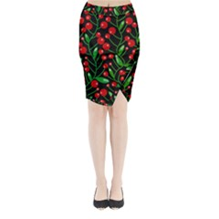 Red Christmas Berries Midi Wrap Pencil Skirt by Valentinaart