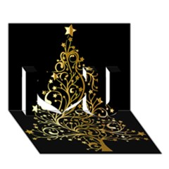 Decorative Starry Christmas Tree Black Gold Elegant Stylish Chic Golden Stars I Love You 3d Greeting Card (7x5) by yoursparklingshop