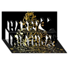 Decorative Starry Christmas Tree Black Gold Elegant Stylish Chic Golden Stars Happy Birthday 3d Greeting Card (8x4) by yoursparklingshop