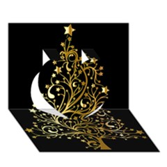 Decorative Starry Christmas Tree Black Gold Elegant Stylish Chic Golden Stars Heart 3d Greeting Card (7x5) by yoursparklingshop