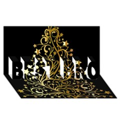 Decorative Starry Christmas Tree Black Gold Elegant Stylish Chic Golden Stars Best Bro 3d Greeting Card (8x4) by yoursparklingshop