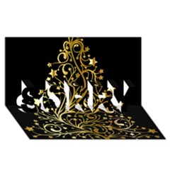 Decorative Starry Christmas Tree Black Gold Elegant Stylish Chic Golden Stars Sorry 3d Greeting Card (8x4) by yoursparklingshop