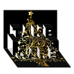 Decorative Starry Christmas Tree Black Gold Elegant Stylish Chic Golden Stars Take Care 3d Greeting Card (7x5) by yoursparklingshop