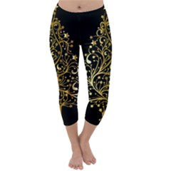Decorative Starry Christmas Tree Black Gold Elegant Stylish Chic Golden Stars Capri Winter Leggings  by yoursparklingshop