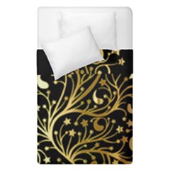 Decorative Starry Christmas Tree Black Gold Elegant Stylish Chic Golden Stars Duvet Cover (single Size)