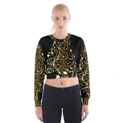 Decorative Starry Christmas Tree Black Gold Elegant Stylish Chic Golden Stars Women s Cropped Sweatshirt by yoursparklingshop
