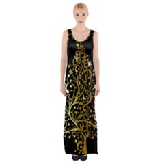 Decorative Starry Christmas Tree Black Gold Elegant Stylish Chic Golden Stars Maxi Thigh Split Dress by yoursparklingshop