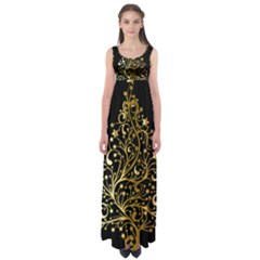 Decorative Starry Christmas Tree Black Gold Elegant Stylish Chic Golden Stars Empire Waist Maxi Dress by yoursparklingshop