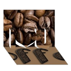 Funny Coffee Beans Brown Typography I Love You 3d Greeting Card (7x5) by yoursparklingshop