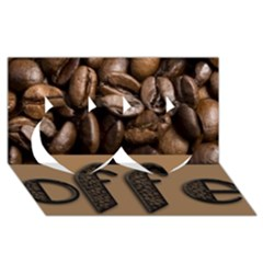 Funny Coffee Beans Brown Typography Twin Hearts 3d Greeting Card (8x4) by yoursparklingshop