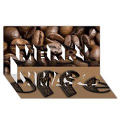 Funny Coffee Beans Brown Typography Merry Xmas 3d Greeting Card (8x4) by yoursparklingshop