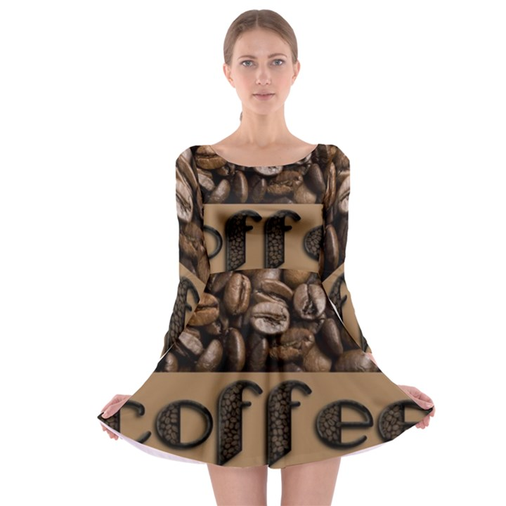 Funny Coffee Beans Brown Typography Long Sleeve Skater Dress  161026838