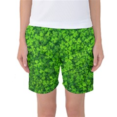 Shamrock Clovers Green Irish St  Patrick Ireland Good Luck Symbol 8000 Sv Women s Basketball Shorts by yoursparklingshop