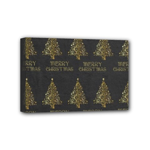 Merry Christmas Tree Typography Black And Gold Festive Mini Canvas 6  X 4  by yoursparklingshop