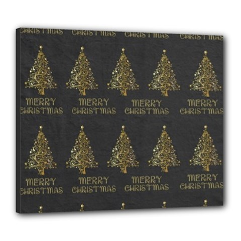 Merry Christmas Tree Typography Black And Gold Festive Canvas 24  X 20