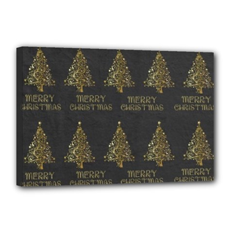Merry Christmas Tree Typography Black And Gold Festive Canvas 18  X 12  by yoursparklingshop