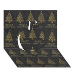 Merry Christmas Tree Typography Black And Gold Festive Apple 3d Greeting Card (7x5) by yoursparklingshop