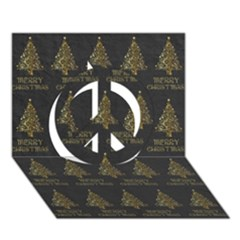 Merry Christmas Tree Typography Black And Gold Festive Peace Sign 3d Greeting Card (7x5)