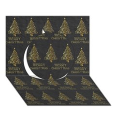 Merry Christmas Tree Typography Black And Gold Festive Circle 3d Greeting Card (7x5) by yoursparklingshop