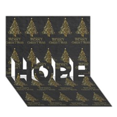 Merry Christmas Tree Typography Black And Gold Festive Hope 3d Greeting Card (7x5) by yoursparklingshop
