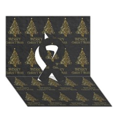 Merry Christmas Tree Typography Black And Gold Festive Ribbon 3d Greeting Card (7x5) by yoursparklingshop