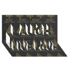 Merry Christmas Tree Typography Black And Gold Festive Laugh Live Love 3d Greeting Card (8x4) by yoursparklingshop