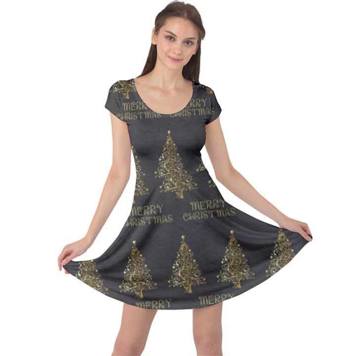 Merry Christmas Tree Typography Black And Gold Festive Cap Sleeve Dresses