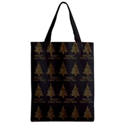 Merry Christmas Tree Typography Black And Gold Festive Zipper Classic Tote Bag by yoursparklingshop