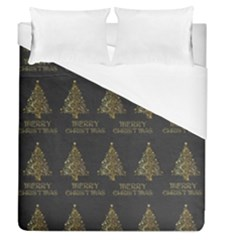 Merry Christmas Tree Typography Black And Gold Festive Duvet Cover Single Side (queen Size) by yoursparklingshop