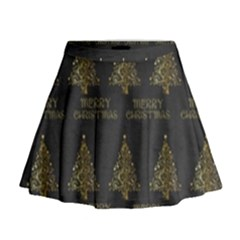 Merry Christmas Tree Typography Black And Gold Festive Mini Flare Skirt by yoursparklingshop