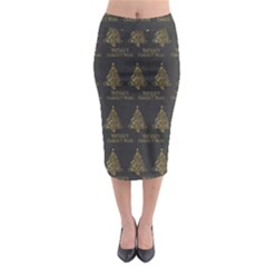 Merry Christmas Tree Typography Black And Gold Festive Midi Pencil Skirt by yoursparklingshop