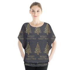 Merry Christmas Tree Typography Black And Gold Festive Blouse by yoursparklingshop